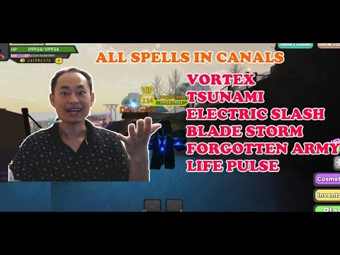 All Spells In The Dungeon Quest The Canals Vortex Blade Storm Life Pulse Tsunami Youtube