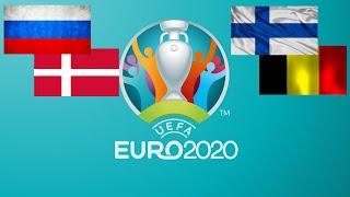 Футбол.Чемпионат Европы.Прямая трансляция Россия-Дания,Финляндия-Бельгия.
