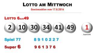 Lottozahlen Ziehung vom Lotto am Mittwoch 17.8.2016