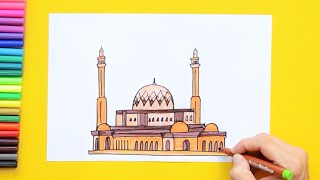 How to draw and color Al-Fatih Mosque (Great Mosque), Manama, Bahrain