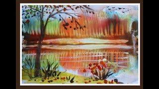 Осенний пейзаж поэтапно для детей. Рисование осеннего пейзажа.