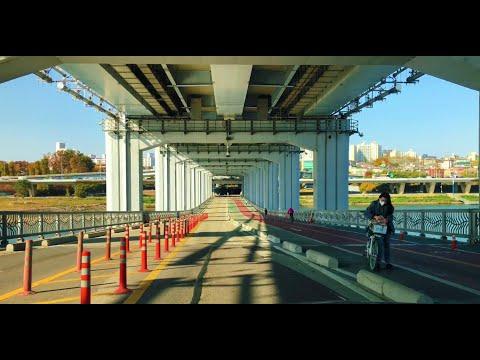 Riding private vehicle across Jamsoo bridge from Banpo to Yongsan in Nov. 2020 2pm 서울 승용차 잠수교 횡단하기
