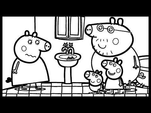 Mommy Pig scared Spider in the bathroom   Baby Draw & Colors