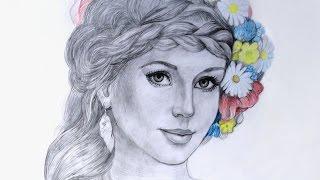 Уроки рисования.  Как нарисовать портрет девушки с венком - Art School(В этом видео мы покажем как нарисовать портрет девушки простым и разноцветными карандашами. ▻ Скачайте..., 2015-05-15T13:55:42.000Z)