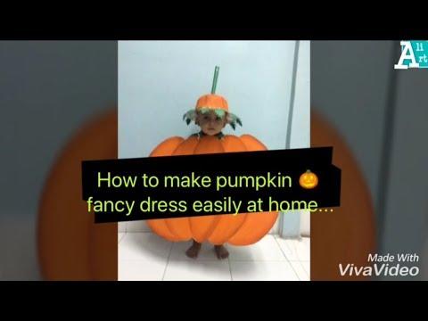 b8745dd57ba Pumpkin fancy dress for kids| how to make pumpkin fancy dress at home  easily | Fancy dress