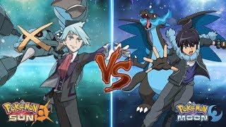 Pokemon Sun and Moon: Champion Steven Vs Alain (Mega Metagross Vs Mega Charizard X)