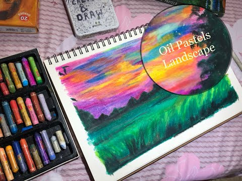 Oil Pastels-Evening Sky Painting (landscape painting ) (Easy Art)(Colourful Sky Painting)