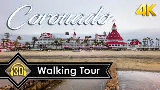 Walking Tour of Coronado Beach | Hotel Del Coronado 【4K】 (3D Audio)