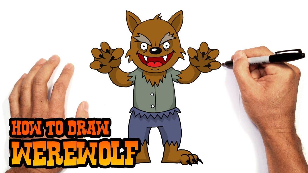halloween wolf drawing