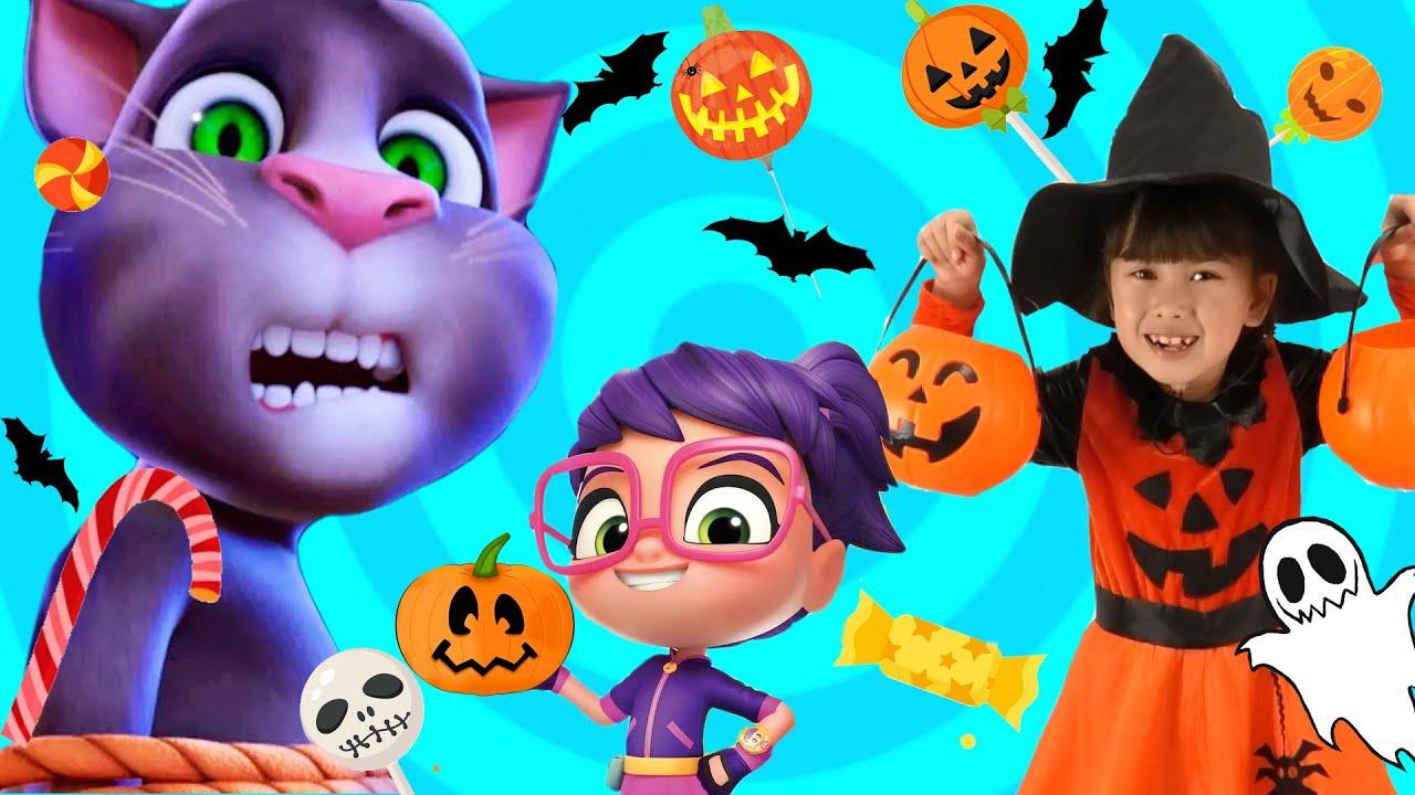 Talking Tom Pretend Play Halloween Trick or Treat Candy Haul VS Abby Hatcher