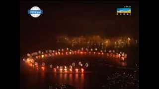Dubai New Year 2014 World Record Firework at Palm Jumeirah and World Islands