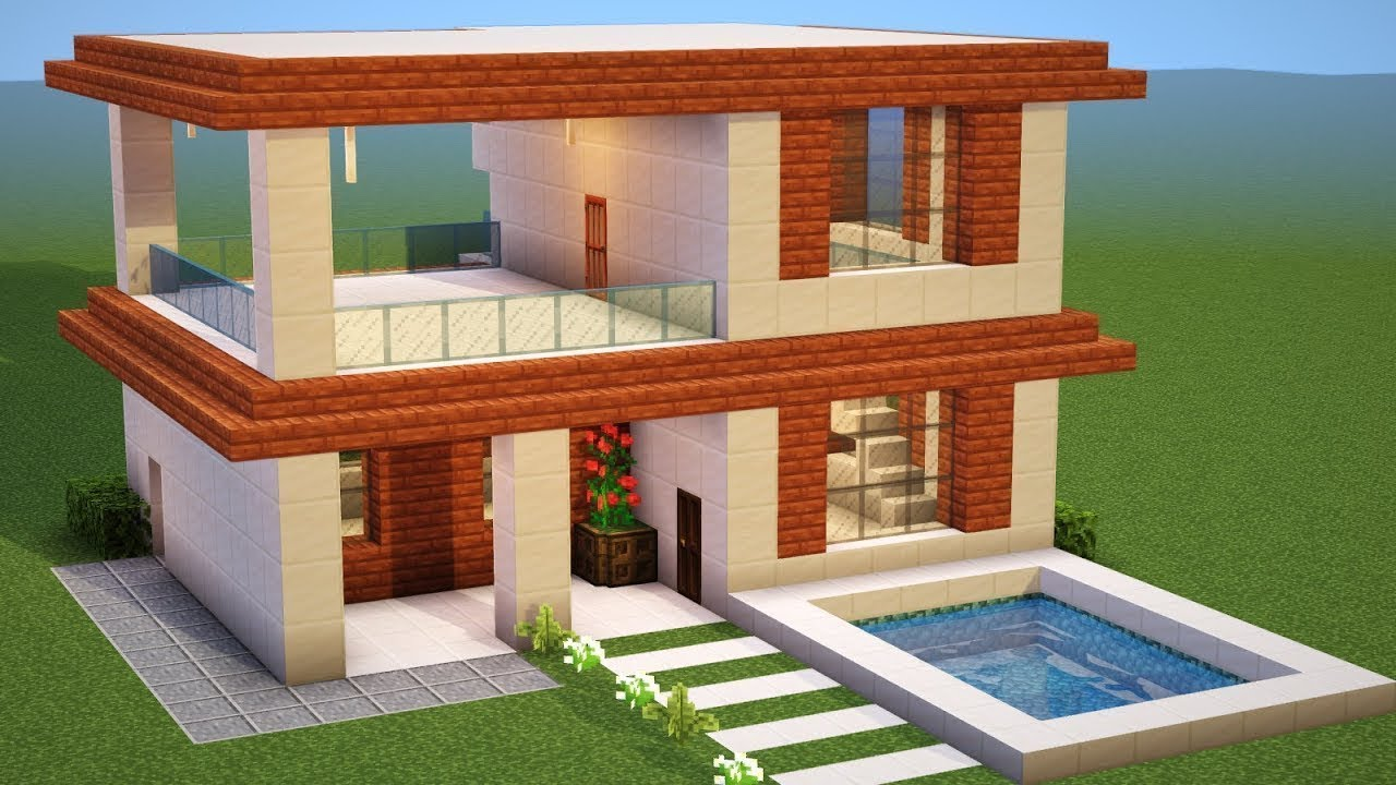 Minecraft how to build a modern house tutorial 11 for Casa moderna 1 8