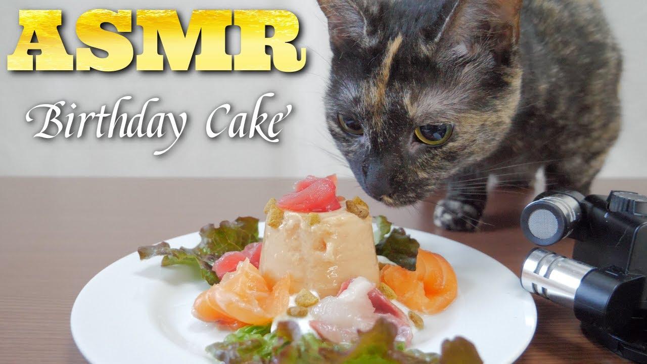 【ASMR】2歳のバースデーケーキを唸りながら食べる猫🐈🍰🎧