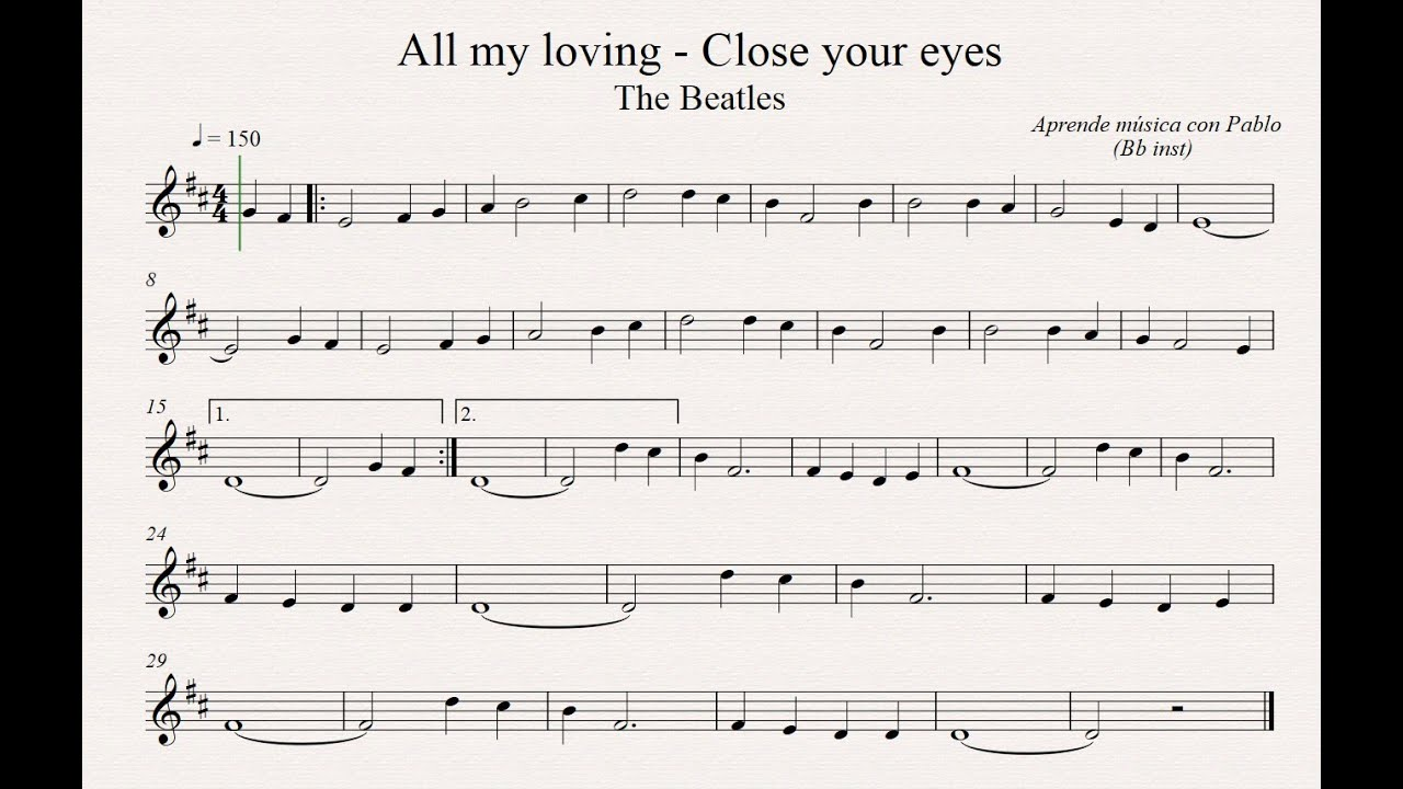 ALL MY LOVING PARTITURA EPUB DOWNLOAD