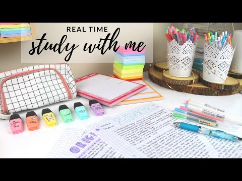 Real time study with me (with music, rain sounds, pomodoro session with break) thumbnail