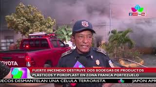 Fuerte incendio destruye dos bodegas de productos plásticos y poroplast en Zona Franca Portezuelo