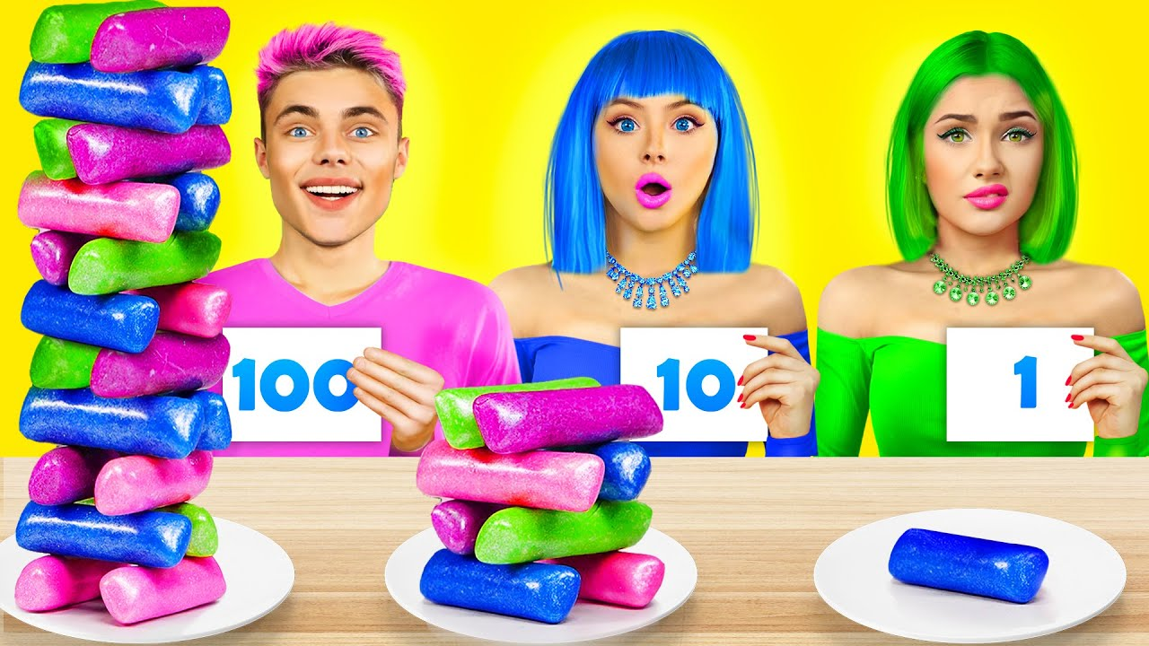 Download Pink VS Green VS Blue Food Challenge   100 Layers of 1 Colored Sweets 24 HRS by RATATA CHALLENGE