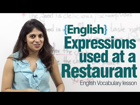 English expressions used at a restaurant - Advance English lesson: English expressions used at a restaurant - Advance English lesson More lessons at : http://www.learnex.in  There are many types of restaurant. In this lesson, Niharika will cover what you need to say in fine-dine restaurants, regular sit down restaurants, and luxury fine dining restaurants.This lesson teaches common words and expressions for describing food and drink, restaurant service and parts of meals.  Useful phrases :  1. Asking for a table  do you have any free tables? I'd like to make a reservation  I'd like to book a table, please I've got a reservation in the name of  2. Ordering your meal :  Could I see the menu, please?  could I see the wine list, please?       Do you have any specials?  what's the soup of the day?  what do you recommend?  what's this dish?  3. Making changes to the order  If you'd like to get the waiter's attention, the most polite way is simply to say:  Excuse me! could we have ...?  another bottle of wine  some more bread  some water could you make this soup 1 by 2? Please see to it that the food is spicy/nonspicy  4. Problems with the food  this isn't what I ordered  this food's cold  this is too salty  this doesn't taste right  we've been waiting a long time  is our meal on its way?  will our food be long?  5. Asking for the check  the bill, please  could we have the bill, please?    can I pay by card?  do you take credit cards?    is service charge included?                         How to speak fluent English                   Free English, English lesson, English video, vocabulary, business English, Grammar, learn grammar, English speaking, spoken English, learn English, speak English, speaking English, fluent English, fluency in English, English training video, speak fluent English, accent training, American accent, British accent,  US accent, UK accent, accent training, personality development, words, sentences, public speaking, presentation, soft skills, how to,