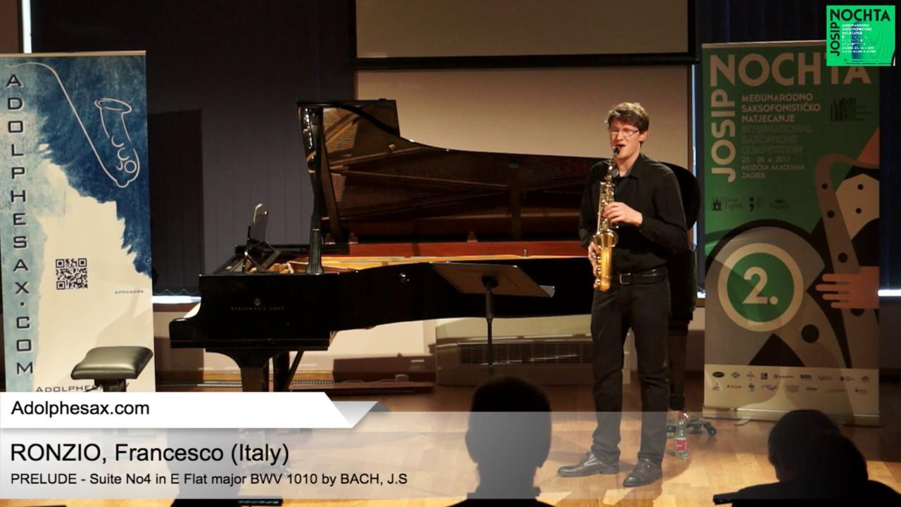 Johann Sebastian Bach   Suite No 4 in E  at major BWV 1010 Prélude -  RONZIO, Francesco Italy