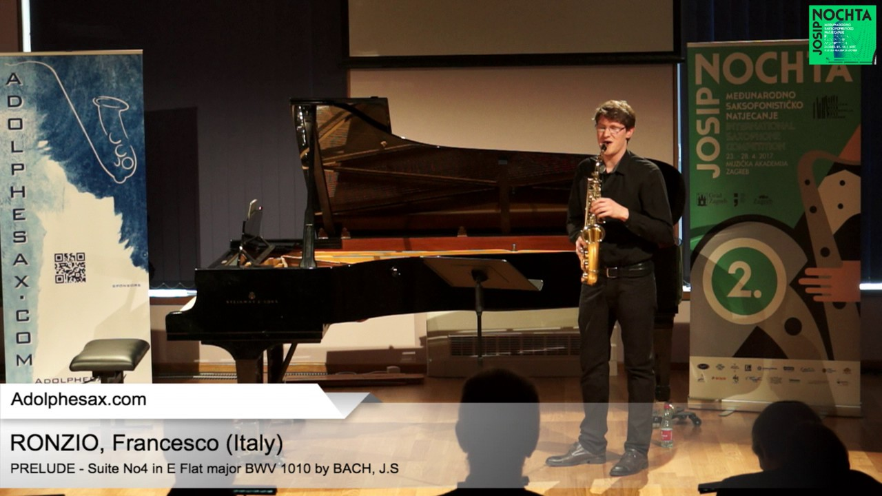 Johann Sebastian Bach   Suite No 4 in E  at major BWV 1010 Pre?lude –  RONZIO, Francesco Italy