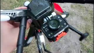 Квадрокоптер Detect x380 в полете с камерой без подвеса, проверка стабильности