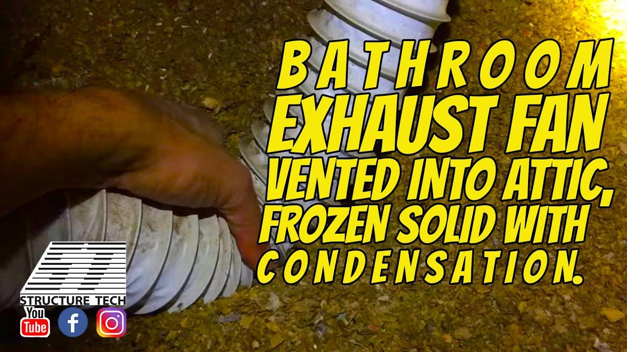Bathroom fan venting into attic - Bathroom Exhaust Fan Vented Into Attic Frozen Solid With Condensation Edina Home Inspection