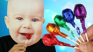 Baby Kid Takes Lollipops to Learn Colors with Finger Family Kid Songs thumbnail