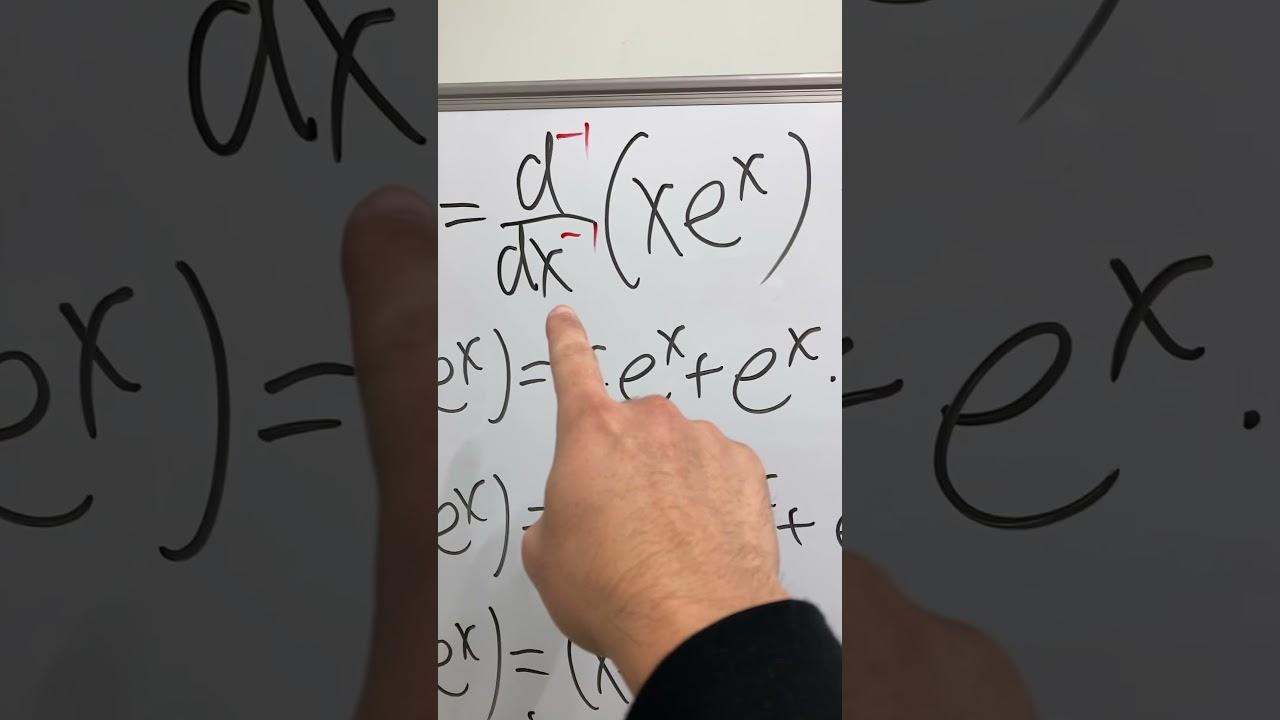 Integral of x*e^x but using negative first derivative