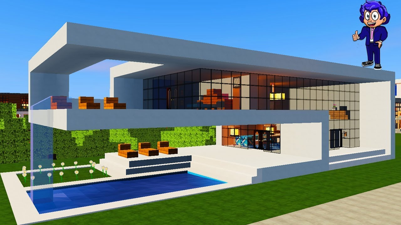 Casa moderna 7 en minecraft c mo hacer y decorar for Casa moderna lecheria