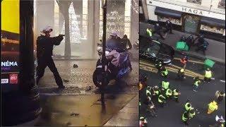 manif paris gilet jaune bagarre avec La police .violence