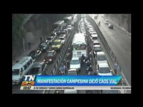 Manifestación campesina dejó caos vial
