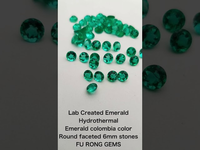 Lab Created Emerald Green Hydrothermal Emerald Colombia Color Round faceted Gemstones wholesale