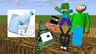 Monster School : BOTTLE FLIP BATTLE CHALLENGE - Minecraft Animation
