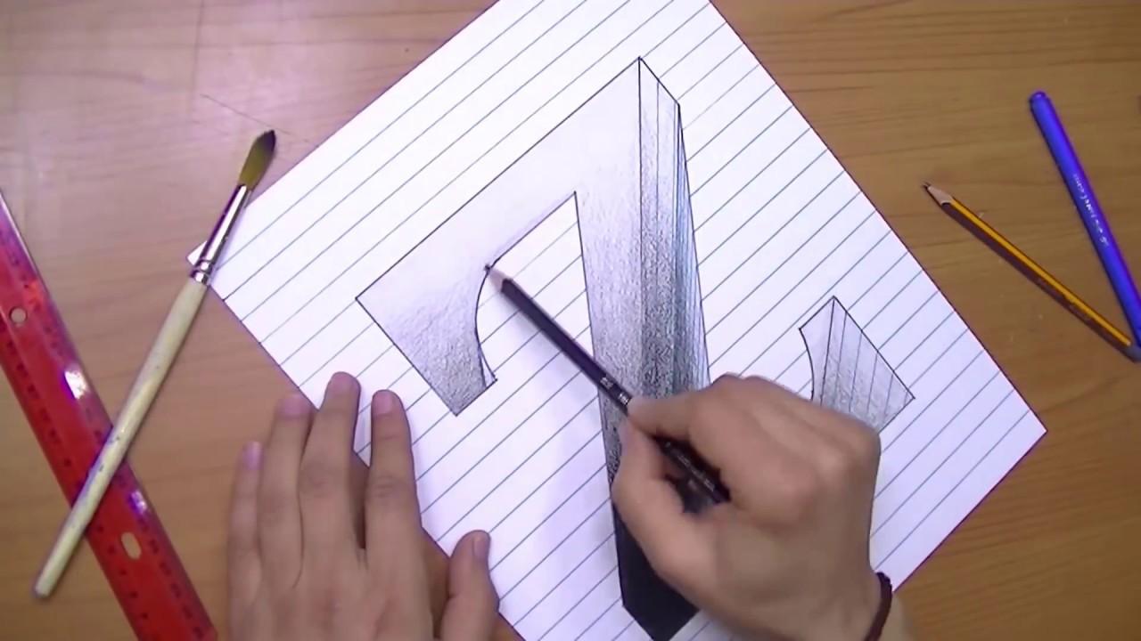 رسم حرف Z ثري دي 3d محفور على الورقة خدع بصرية ثري دي Youtube