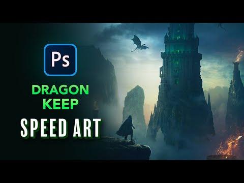 Create A DRAGON KEEP In Photoshop - Speed Art