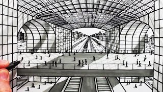 How to Draw 1-Point Perspective: Railway Building マクファーソン 検索動画 26