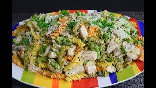Easy Delicious Pasta with Chicken, Broccoli and mushrooms!