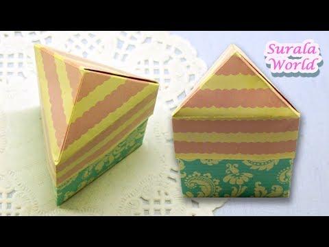 Origami - Triangle Box & Lid,  Triangular Pyramid Gift Box (DIY)