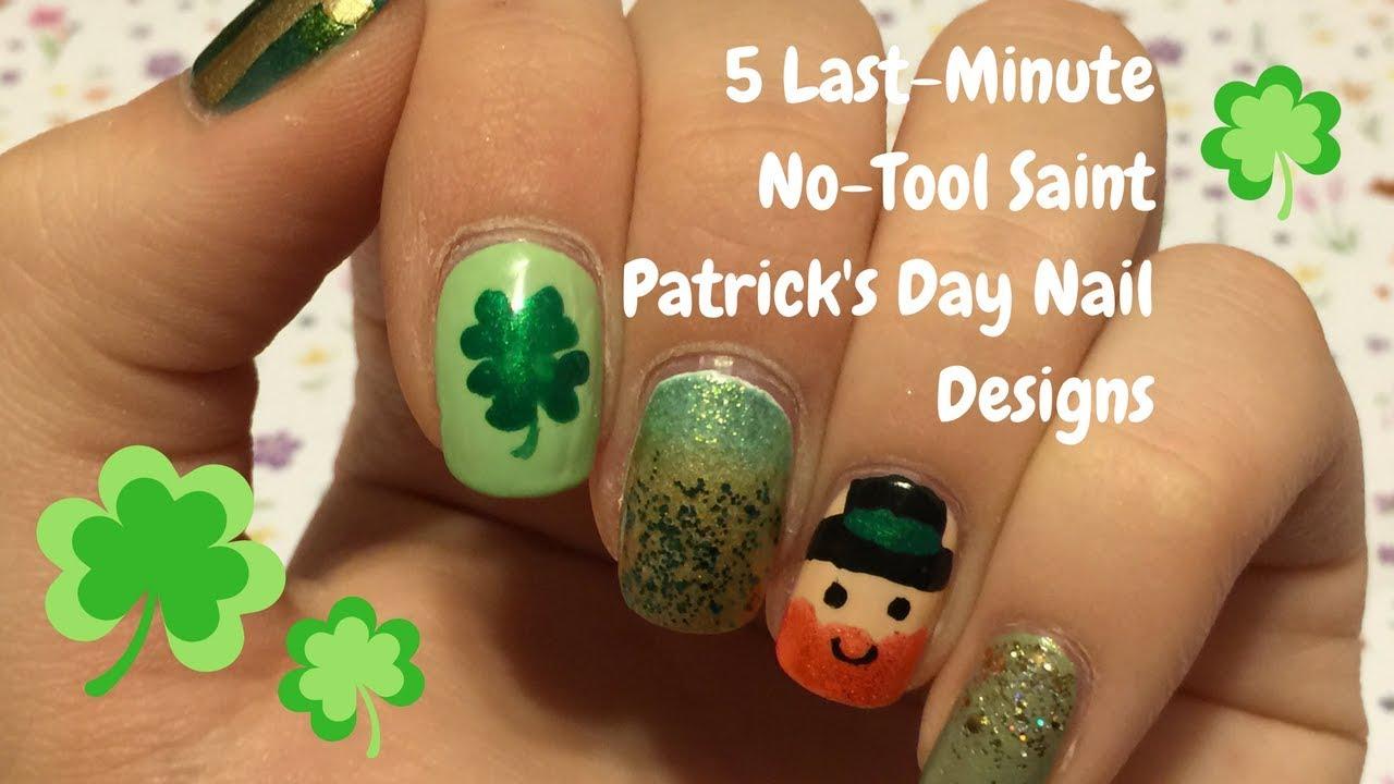 5 Last-Minute No-Tool Saint Patrick\'s Day Nail Designs - YouTube