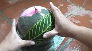 DIY- How To Make Beautiful Lamp With Cement, Balloon Ball And Leaf
