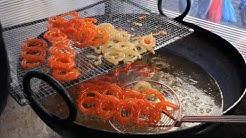 Hot Jalebi - by (Love Mithai) cooked fresh at Cannon Mills Market Bradford - Desi- Street Food.
