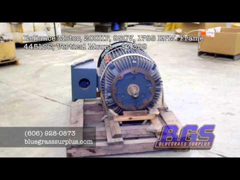 Bluegrass Surplus - Reliance Motor 200HP