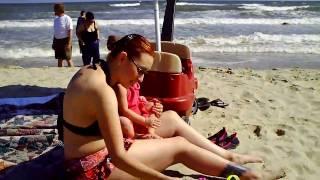 At the beach in Galveston, TX