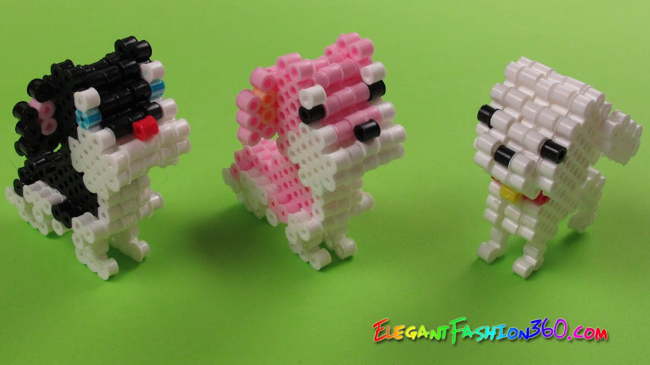 Perler Hama Beads 3d Dog Puppy Animals How To Diy Tutorial By Elegant Fashion 360 Youtube