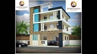 Brown Stone Tile Indian Home Front Design With Glass Balcony | Modern House Design Ideas