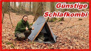 Günstige Schlafkombination 💰 Zelt + Schlafsack + Isomatte   Draußen Schlafen Bushcraft Camping