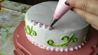 Торты .  Украшение БЗК кремом. Cakes Decoration Protein Custard.
