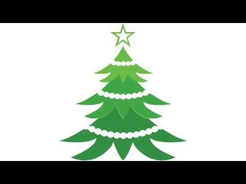 Рисуване на коледна елха със звезда и гирлянди