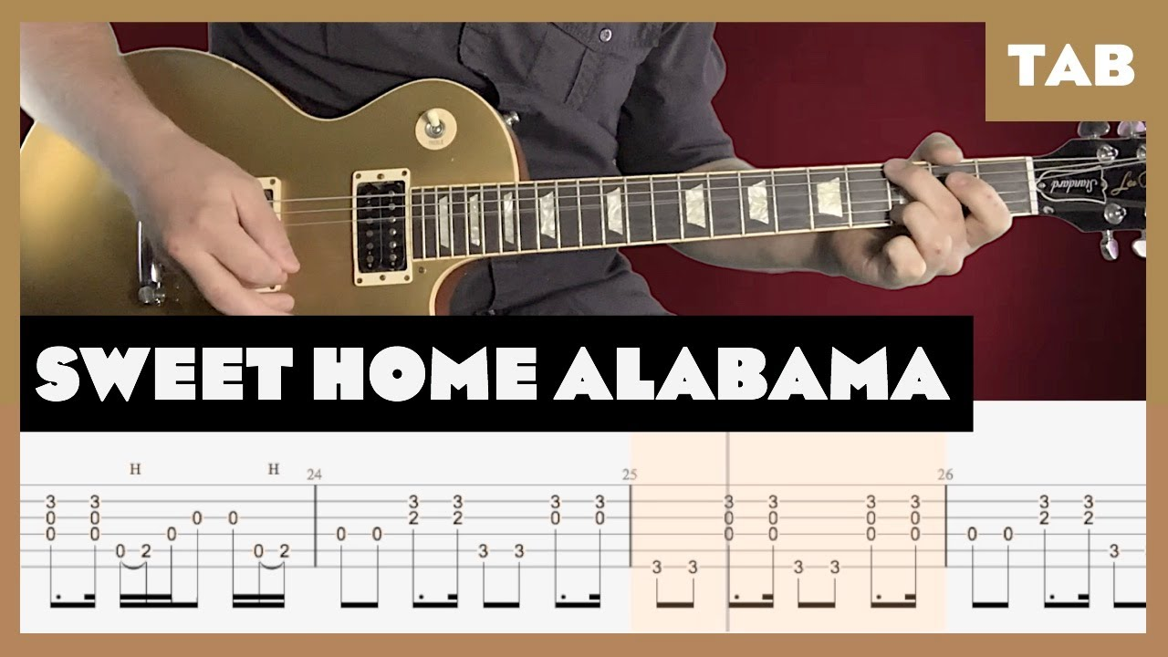 I bet you didn't know, it's the c chord that is most important when soloing to sweet home alabama. Sweet Home Alabama Lynyrd Skynyrd Cover Guitar Tab Lesson Tutorial Youtube