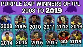 Purple Cap Winners Of  All Season of IPL Since From 2008 to 2019 | The Leading Wicket Taker In IPL